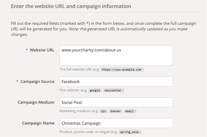 Guidance for filling in Google Analytics link builder parameters