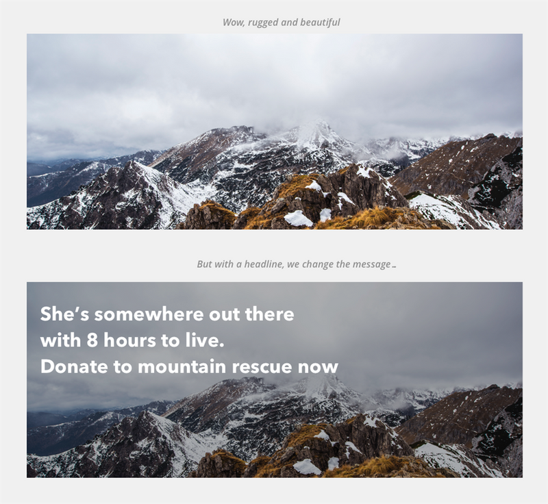 2 images of a mountain. One has text