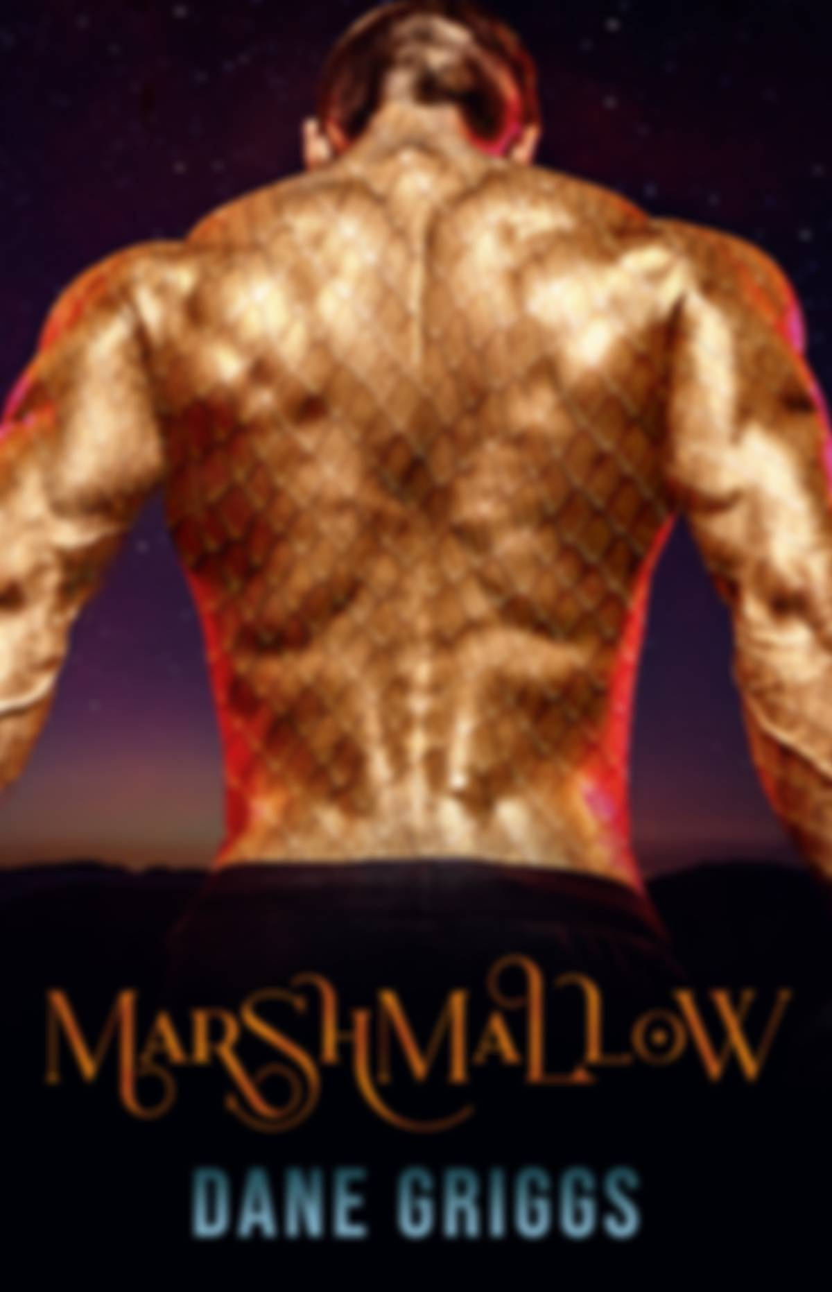 Book cover for Marshmallow by Dane Griggs. Featuring a muscular man's back