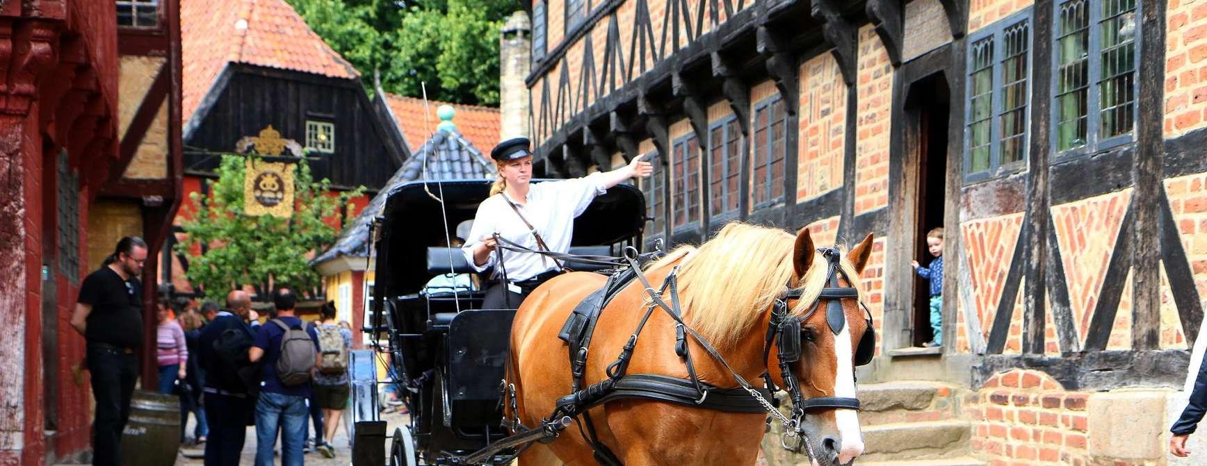 Bilde av hest og kjerre på brostein blant gamle hus