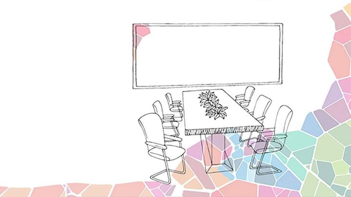 An illustration of desk and tables