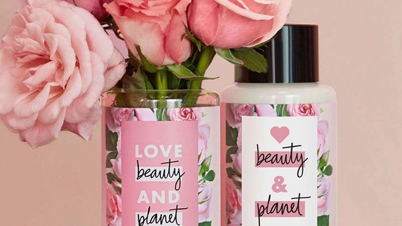 Pink Love Beauty and Planet bottles and pink roses