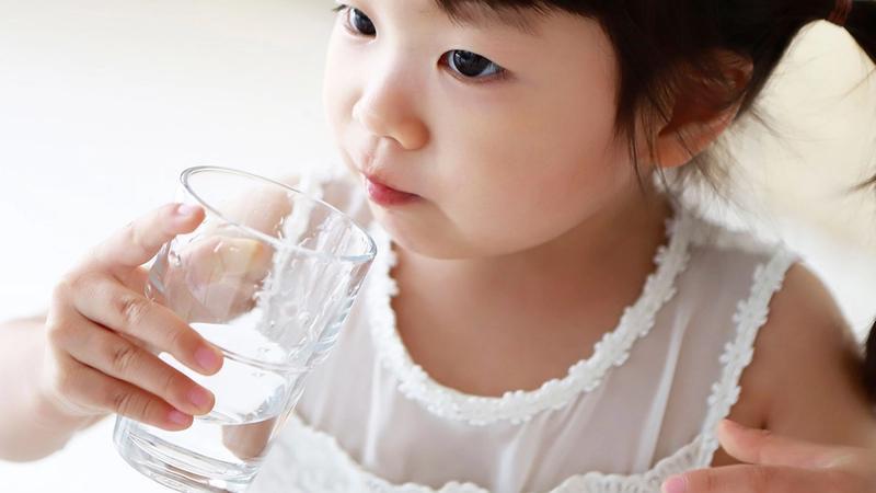 Girl having water