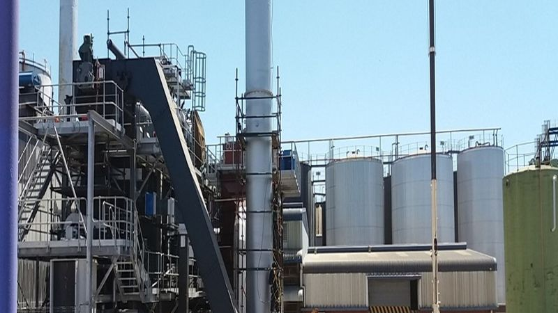 Biomass boiler at factory