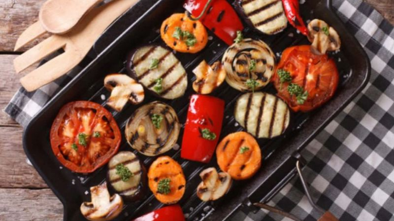 Grilled Veggies with utensil