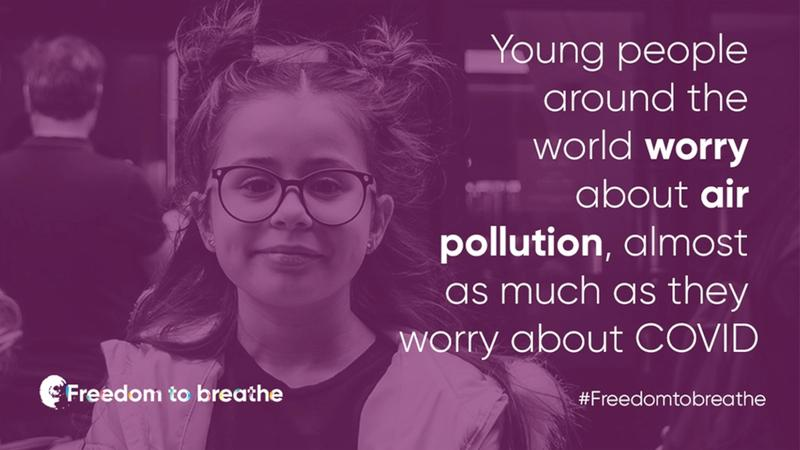 text that reads: 'Young people around the world worry about air pollution almost as much as they worry about Covid.'