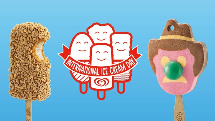 Gaytime and bubble O'Bill celebrating International Ice Cream Day