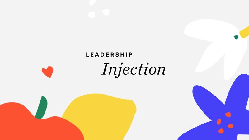 Bright illustration with text 'Leadership injection' overlaid
