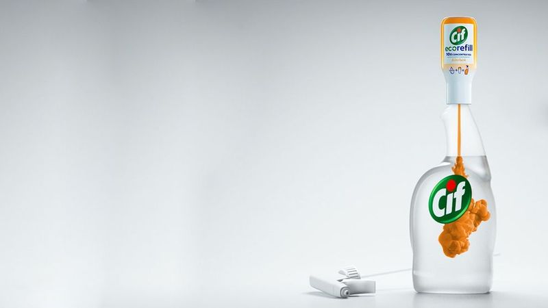Cif ecorefill bottle. Our Cif ecorefill allows shoppers to buy one spray bottle, which they can then use for life.