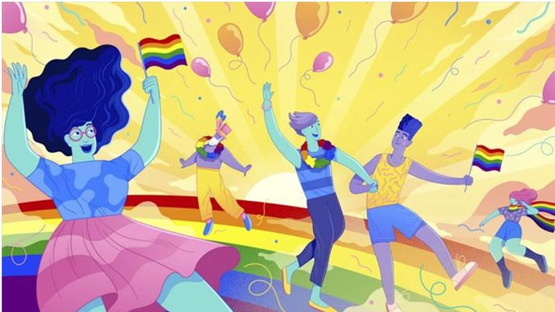 Illustration of people dancing through a Pride parade