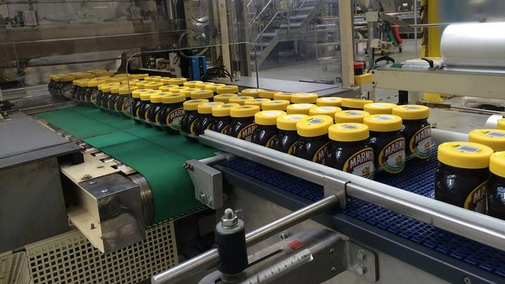 Marmite jars on the production line