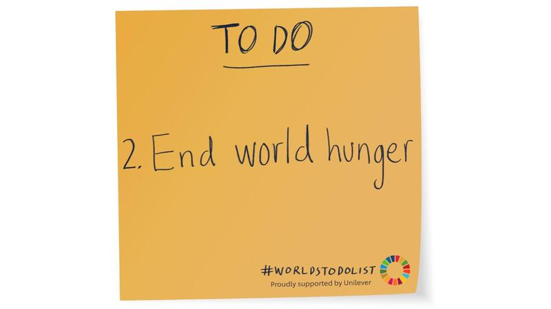 Orange sticky note with End world hunger written on it