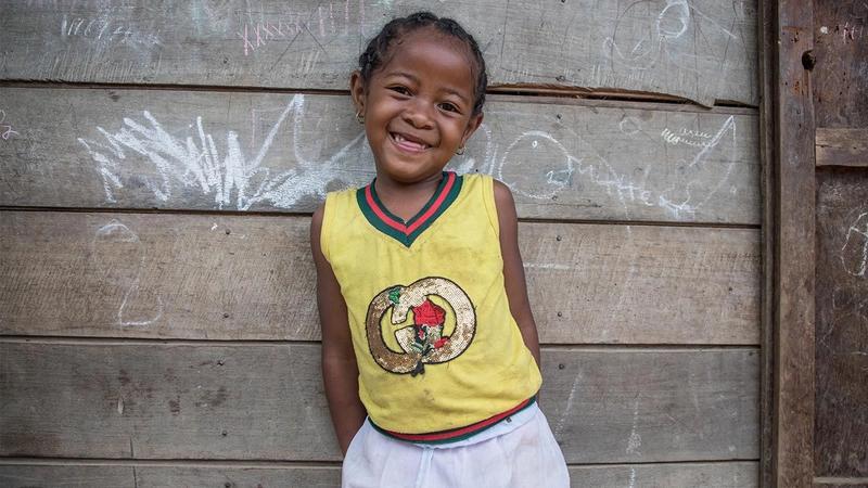 Tasmanie, 6 years old, in her village in Madagascar.