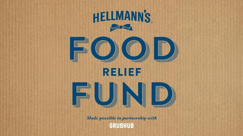 Poster stating: Hellmann's Food Relief Fund