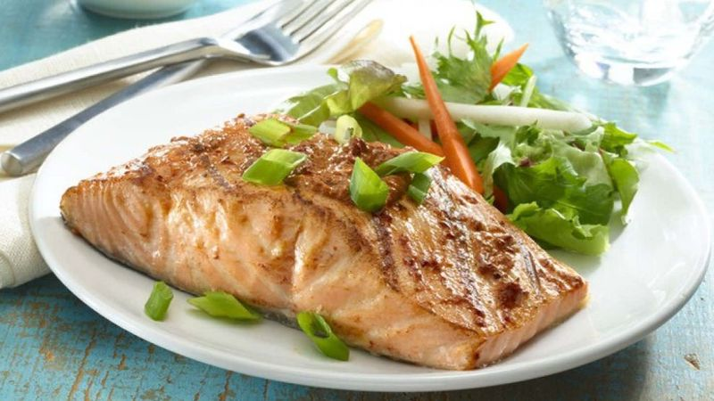 Picture of Ancho Honey Glazed Salmon with salad on a plate