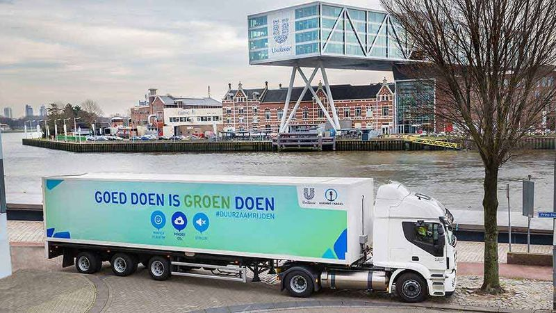 Branded LNG truck in the Dutch Logistics operations