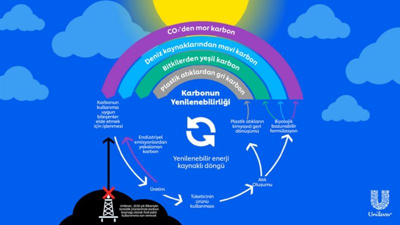Infographic visual which defines circular model of Carbon Rainbow