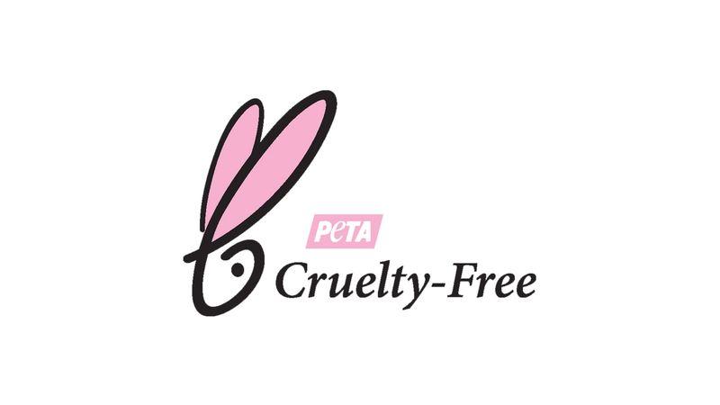 PETA certification logo - white bunny face with 'PETA Cruelty Free'