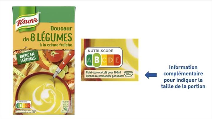 Knorr affiche le Nutri-score et la portion recommandée par la marque