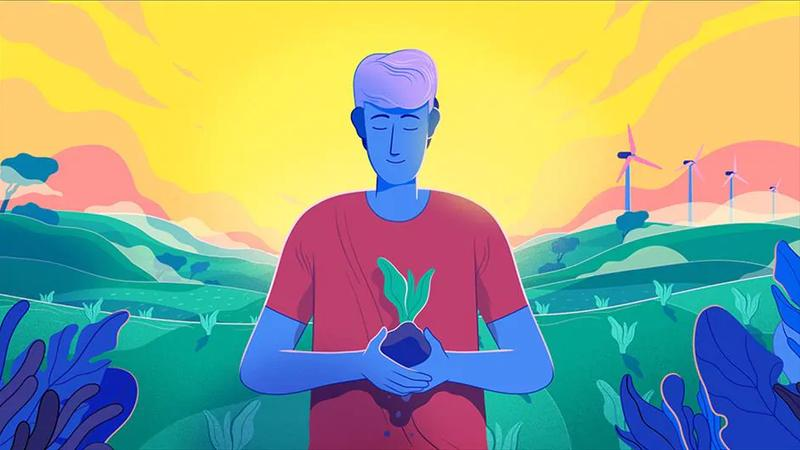 cartoon image of a man standing in a field holding a vegetable