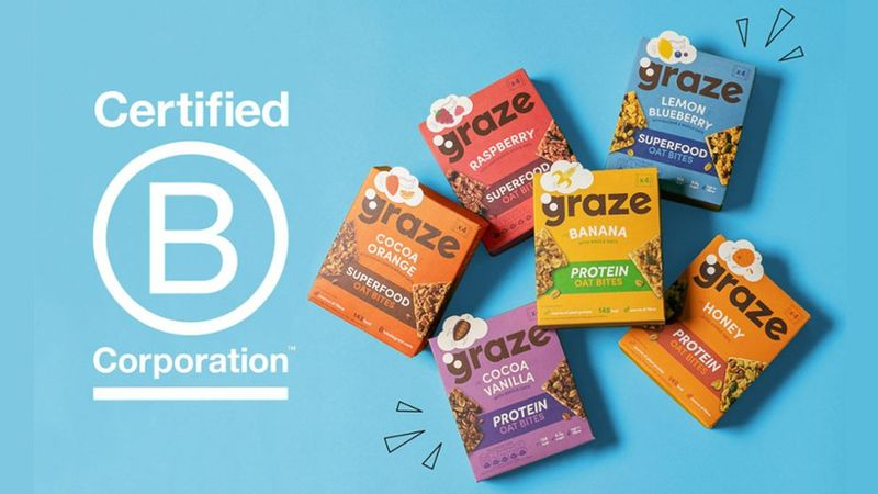 An image of the different graze oat bites on a blue background positioned next to the certification of B corporation.