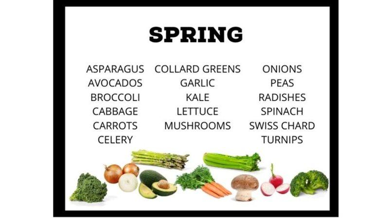 Seasonal Spring Produce chart ( List of Vegetables )
