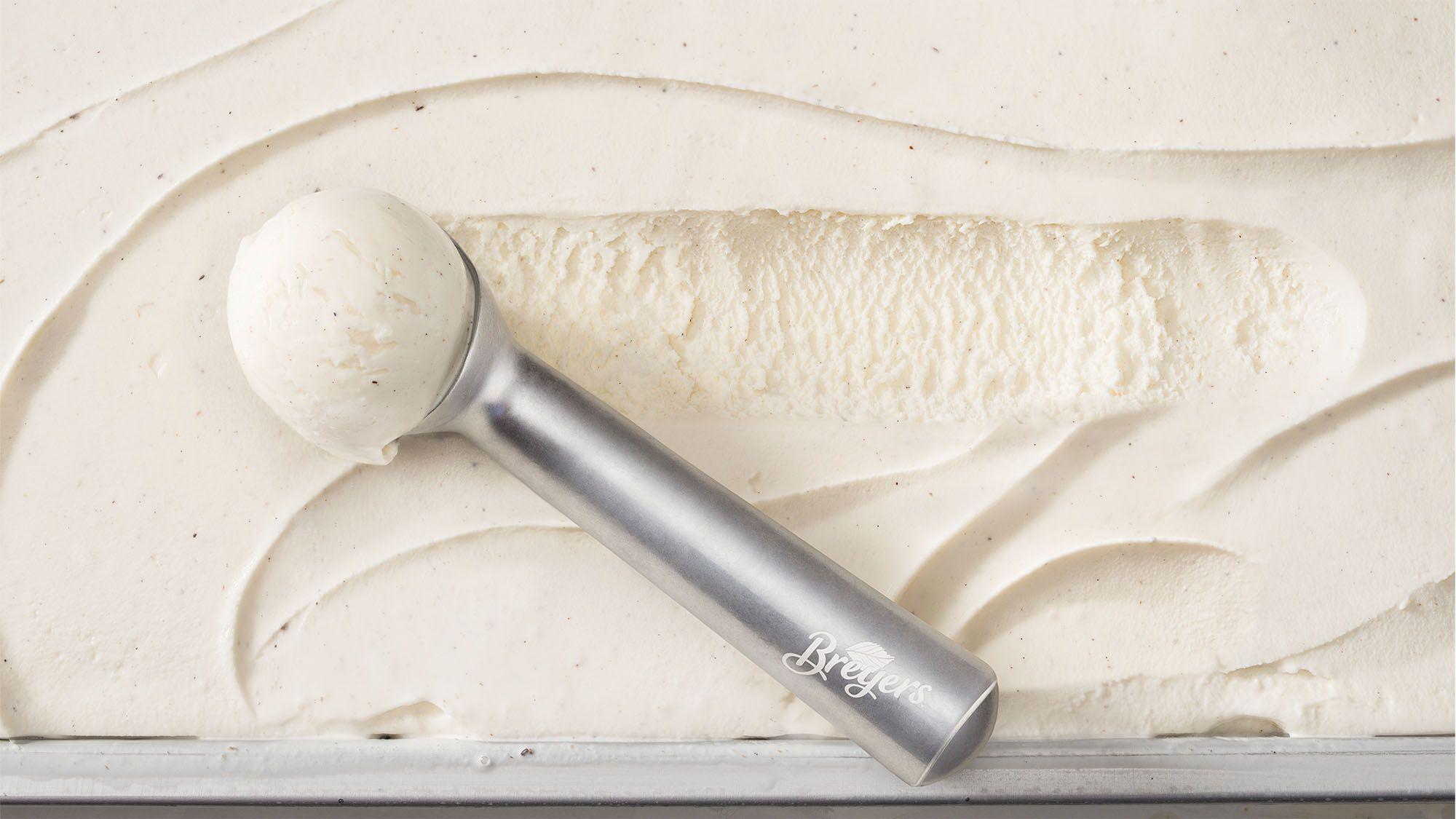 Breyers vanilla ice cream with a scoop