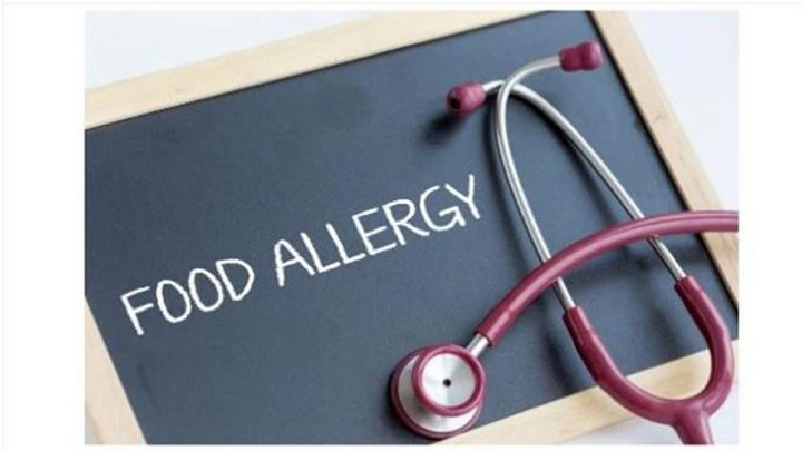Blackboard with 'Food Allergy' written on it with a stethoscope.