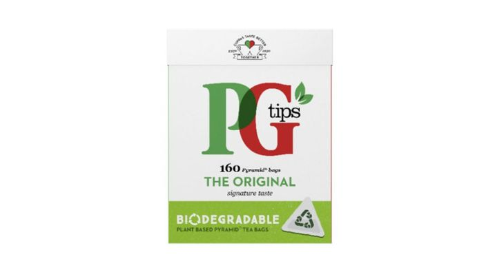 Image showing a box of PG tips 'fully plant-based tea bags'
