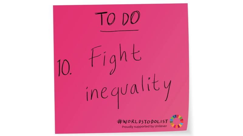Pink stick note with Fight inequality written on it