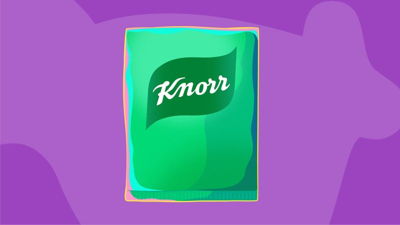 An illustration of the green and white Knorr logo on a pack against a purple background