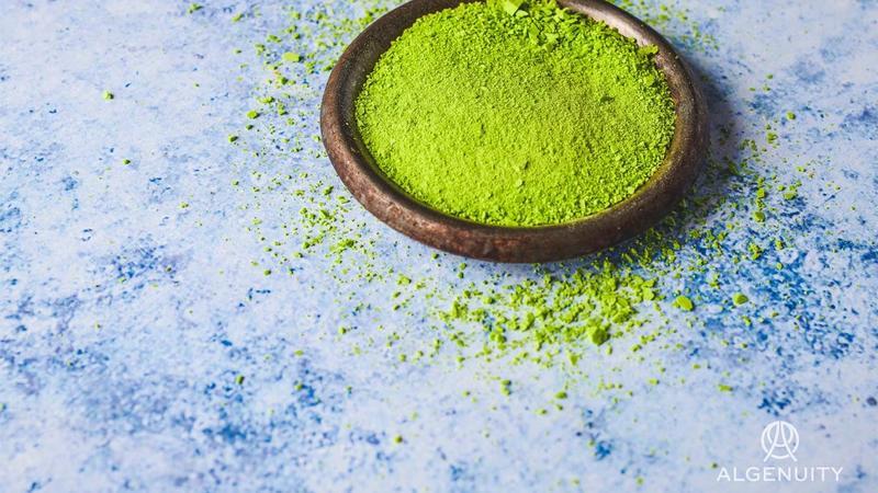 A small bowl of lime green microalgae powder.