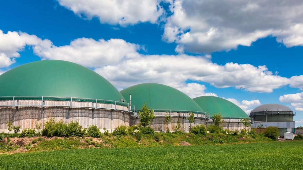 Anaerobic digesters producing biogas from agricultural waste