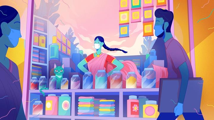 An illustration of a shop keeper with a face mask on