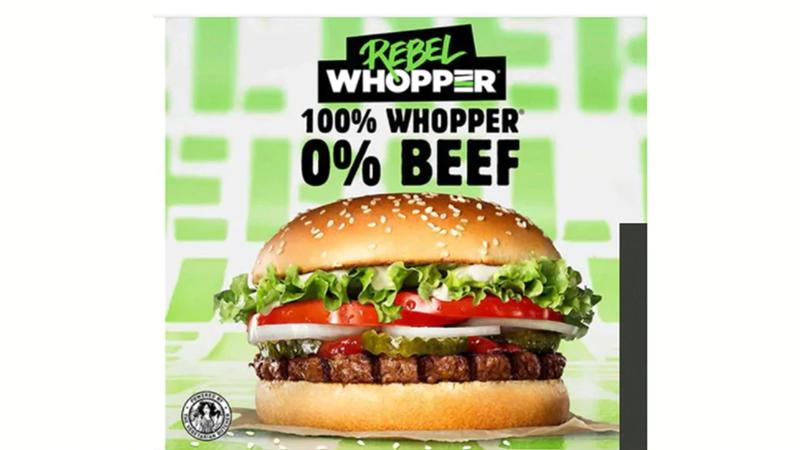Image of a burger with Plant-based Whopper, 100% Whopper, 0% Beef logo