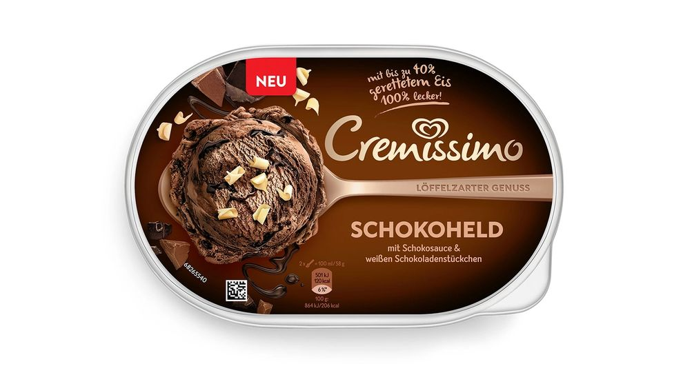 Cremissimo chocolate ice cream tub