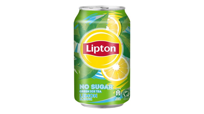 Can of Lipton No Sugar Lemon Iced Tea