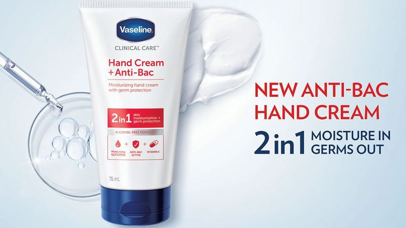 An image of Vaseline's new anti-bacterial hand cream