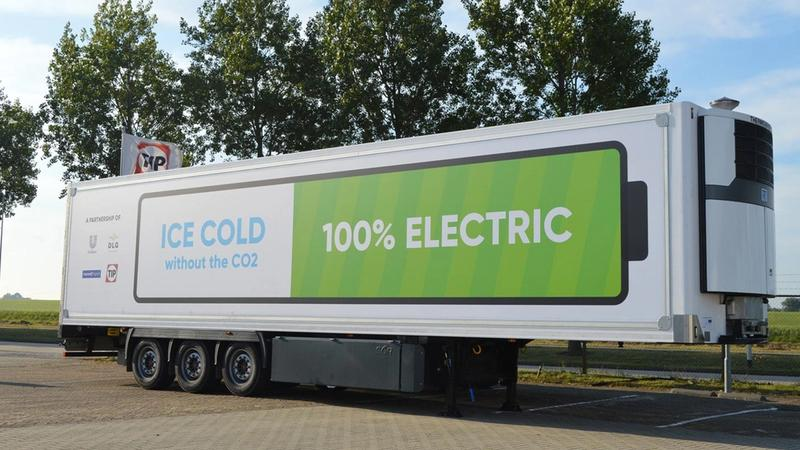 Truck trailer with battery-powered refrigeration.