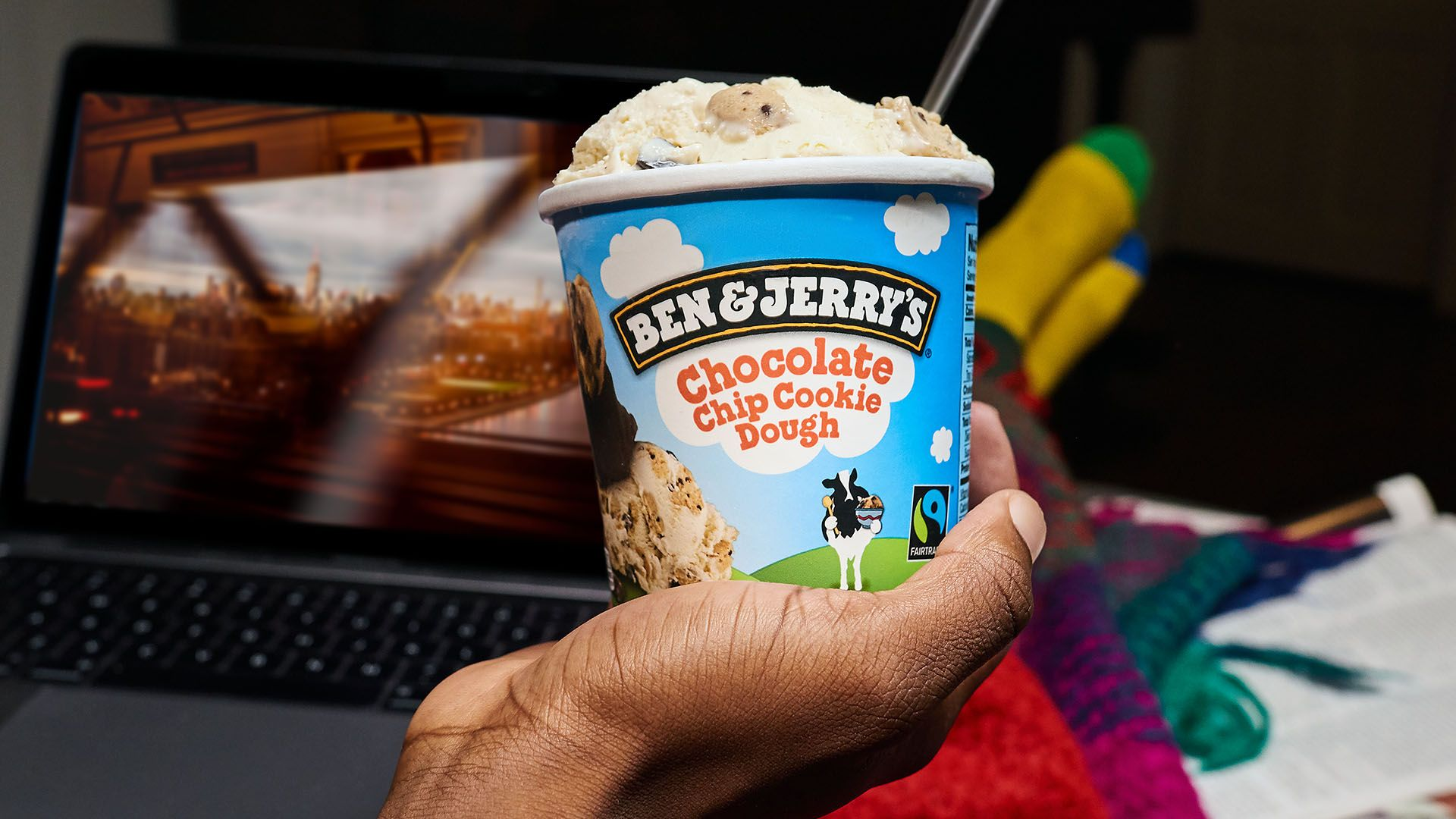 A tub of Ben and Jerry's Chocolate Cookie Dough
