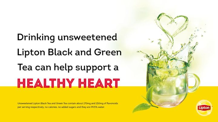 Cup of tea splashing out of cup with claim: Drinking Unsweetened Lipton Black or Green tea can help support a healthy heart.