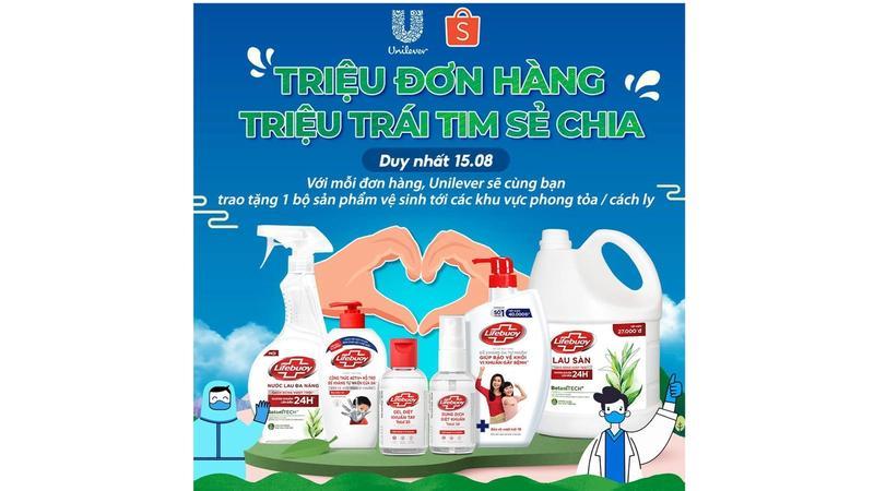 Voi moi don hang, Unilever se cung ban trao tang san pham ve sinh toi khu vuc cach ly