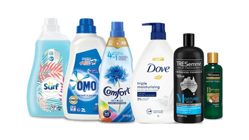 Bottles of Omo, Tresemme, Simple made with recycled plastic