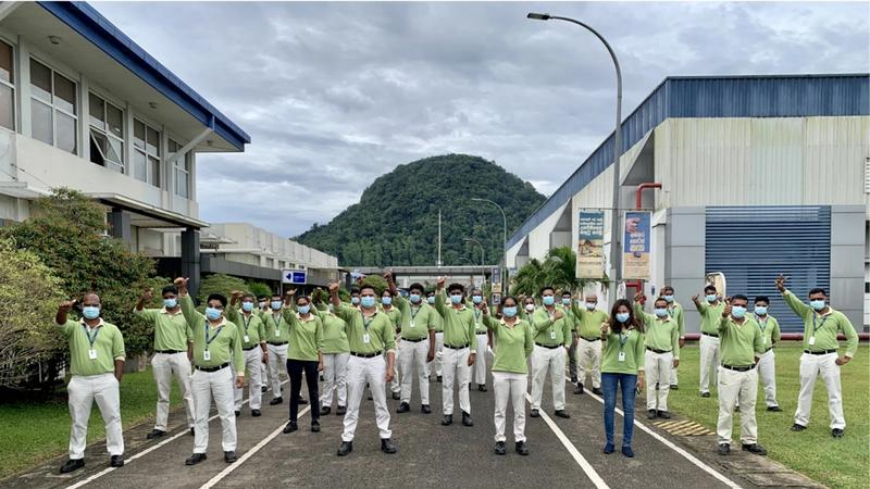 Employees at Unilever's Horana manufacturing facility