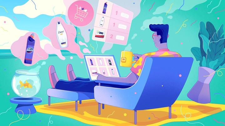 Illustration of a man sitting on the sofa using his laptop