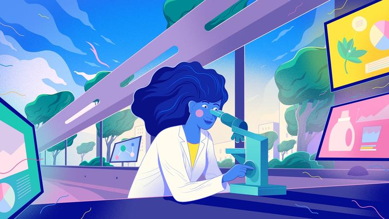 An illustration of a scientist looking through a microscope