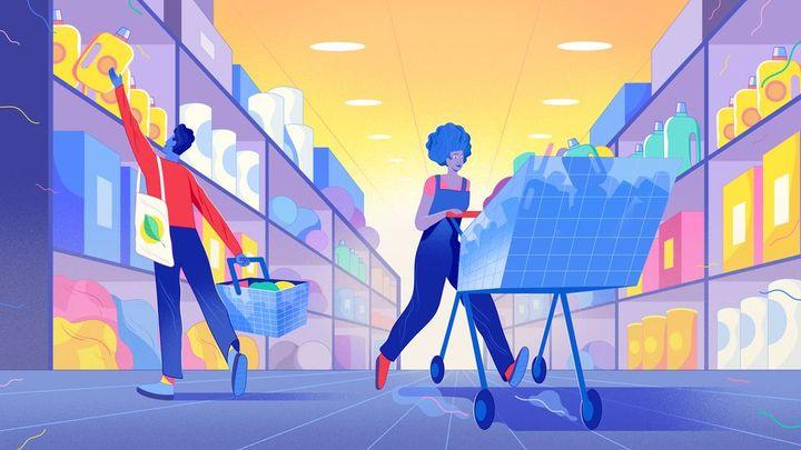 Süpermarkette alışveriş yapan insanlar illüstrasyonu