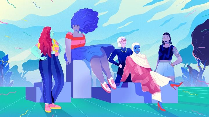 An illustration of a group of diverse people sitting on blocks