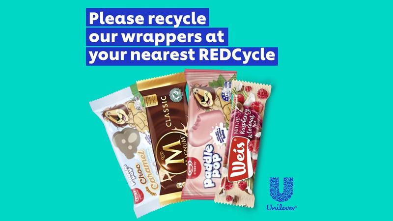 """Wrappers of Streets ice creams with text """"Please recycle our wrappers at your nearest REDCycle"""""""