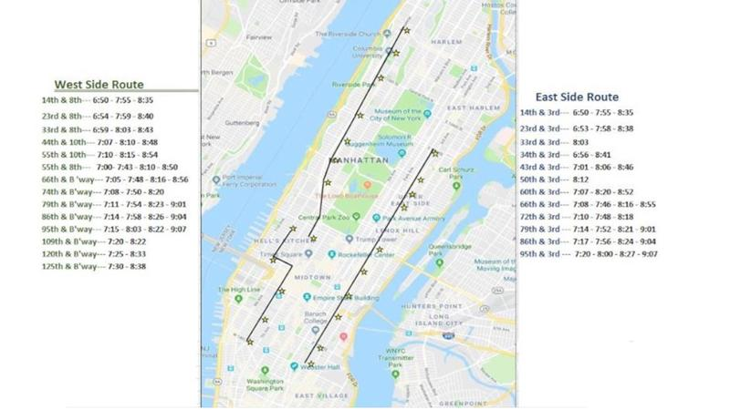 NYC shuttle route map